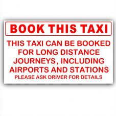1 x Book This Taxi-Red on White-Taxi,Minicab,Minibus Sticker-Airport,Station Bookings taken Information Vinyl Sign
